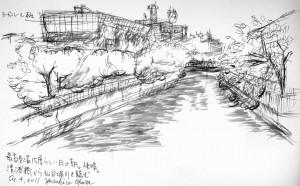 東京下町スケッチ「清澄橋からヨーガンレール」