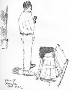 東京スケッチ「公園でスマホをいじるビジネスマン」