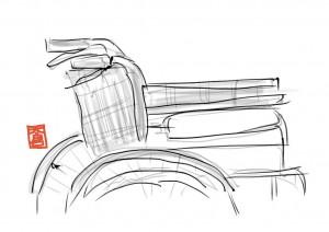 エレベーターホールの車椅子