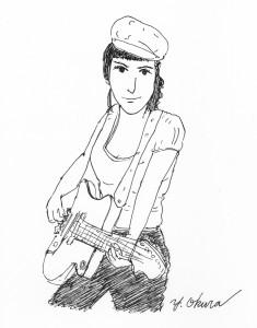 ギターと女性とボールペン