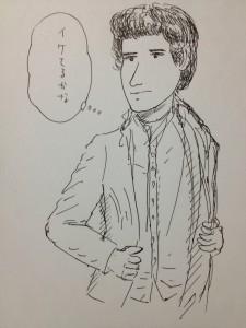男性をボールペン・スケッチ